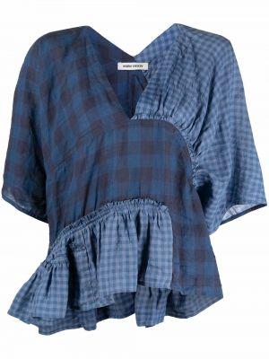 Синяя блузка с V-образным вырезом Henrik Vibskov