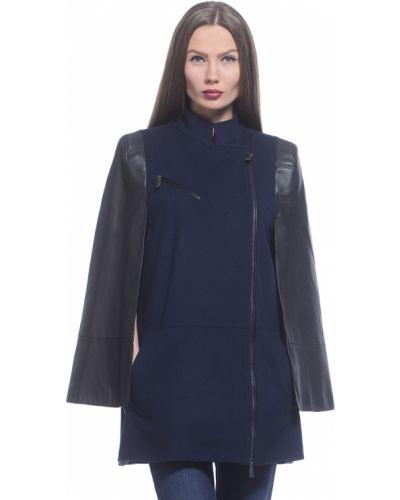 Синее шерстяное пальто с капюшоном Richmond
