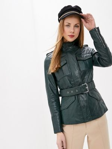 Кожаная куртка осенняя зеленая La Reine Blanche