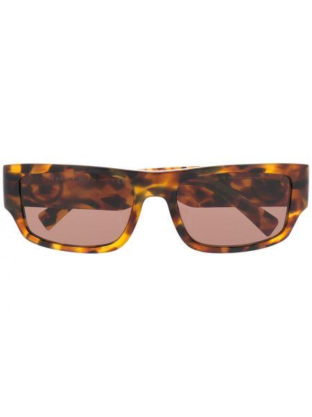 Коричневые золотистые солнцезащитные очки металлические прямоугольные Versace Eyewear