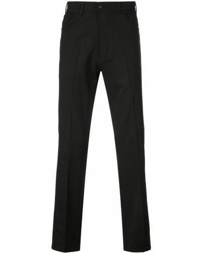 Черные деловые прямые брюки с поясом на пуговицах Second/layer
