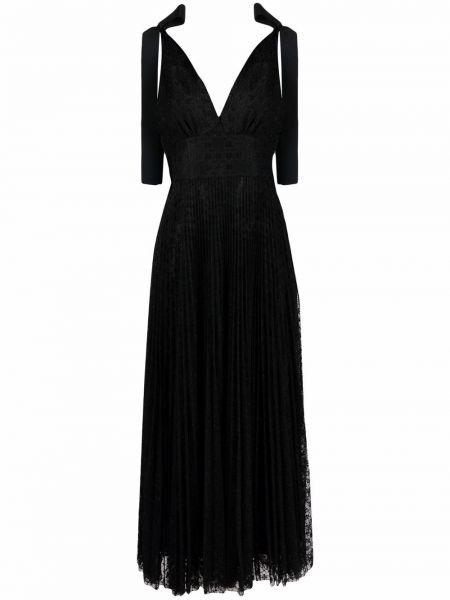 Черное хлопковое платье Elie Saab