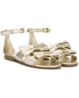 Открытые сандалии золотые с пряжкой Elisabetta Franchi La Mia Bambina