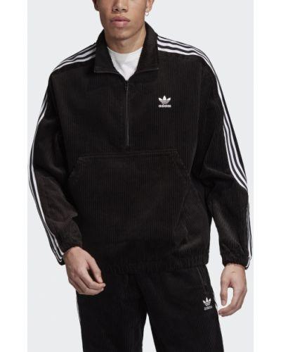 Толстовка на молнии черная свободного кроя Adidas