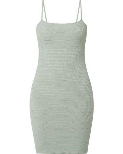 Prążkowana zielona sukienka z wiskozy Review