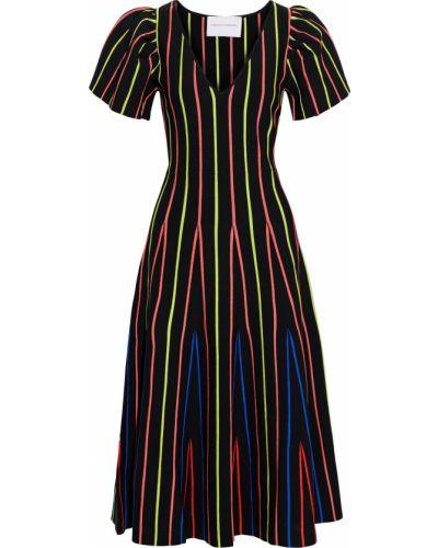 Расклешенное черное платье миди в полоску Carolina Herrera