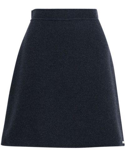 Кашемировая синяя юбка на молнии с подкладкой Sportmax