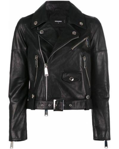Длинная куртка байкерская кожаная Dsquared2