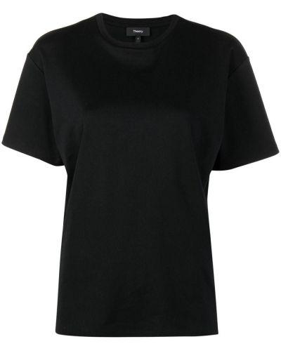 Хлопковая с рукавами черная рубашка Theory