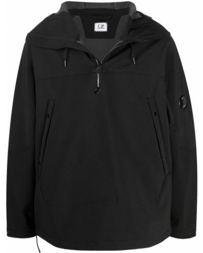 Prosto czarny anorak kurtka z kapturem z długimi rękawami C.p. Company