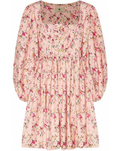 С рукавами розовое платье мини с декольте Maison Bohemique