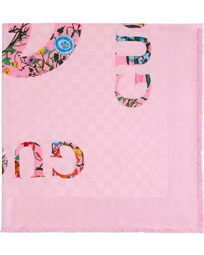 Różowy szalik z wiskozy z printem Gucci