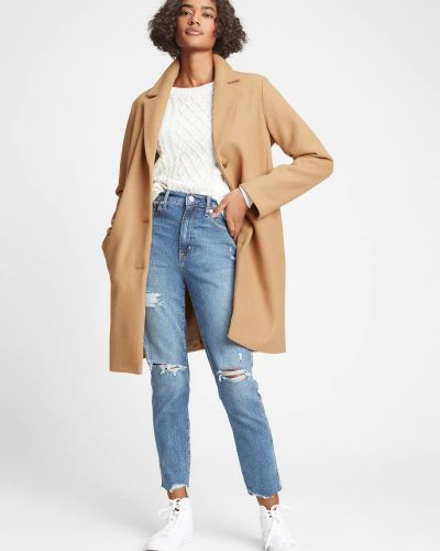 Пальто на пуговицах - бежевое Gap