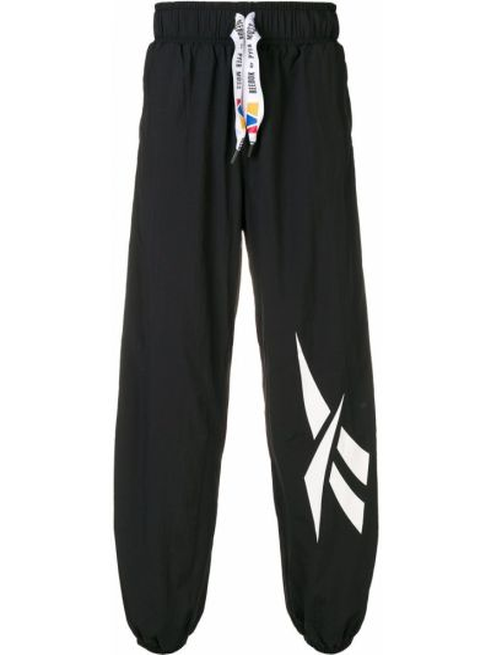 Czarne spodnie z wysokim stanem z nylonu Reebok By Pyer Moss