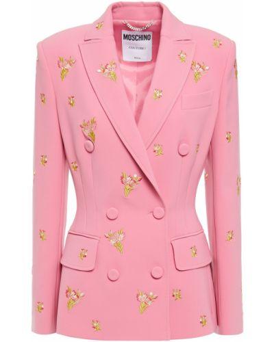 Розовый пиджак двубортный с карманами Moschino