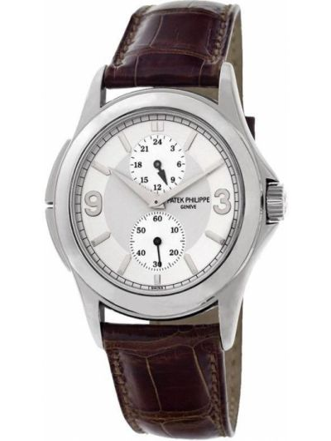 Кожаные серебряные часы на кожаном ремешке Patek Philippe