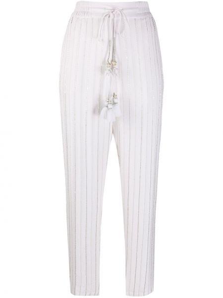 Зауженные укороченные брюки с вышивкой с поясом из вискозы Christian Pellizzari