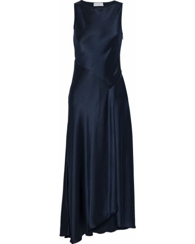 Платье макси атласное - синее Amanda Wakeley
