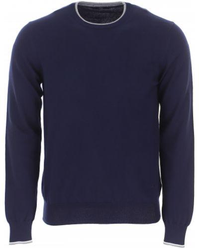 Prążkowany niebieski długi sweter bawełniany Fay