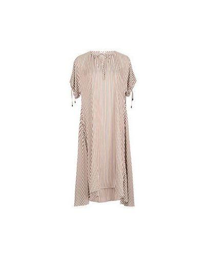 Коричневое повседневное платье из вискозы Peserico
