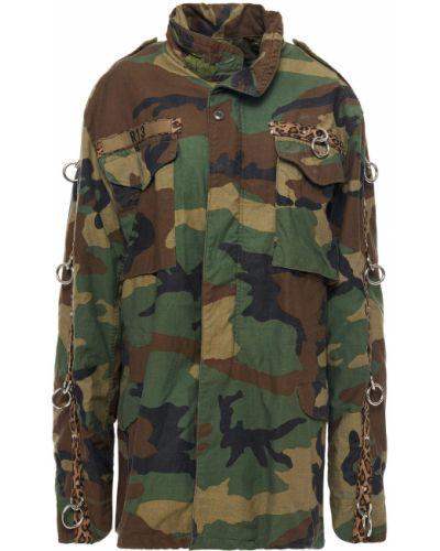 Зеленая ватная куртка с капюшоном R13