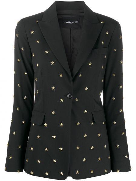 Однобортный черный удлиненный пиджак с карманами Frankie Morello
