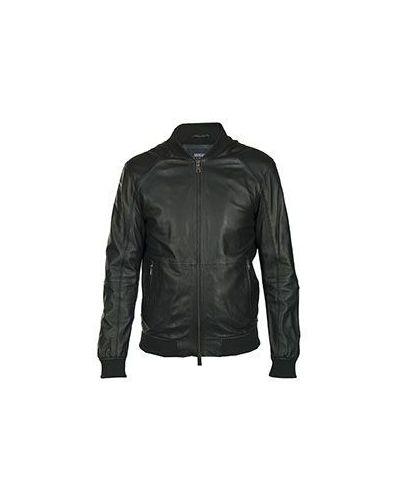 Черная кожаная куртка приталенная Armani Jeans
