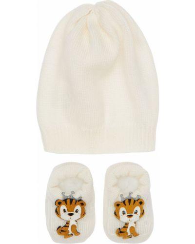 Wełniany biały kapelusz z aplikacjami La Perla