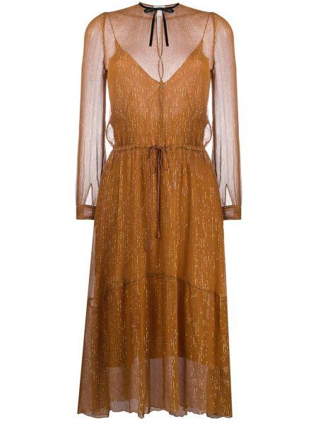 Коричневое шелковое с рукавами платье миди Forte Forte