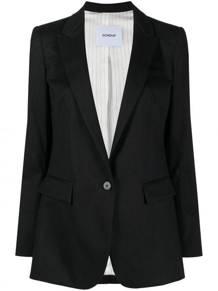 Шерстяной однобортный черный удлиненный пиджак Dondup