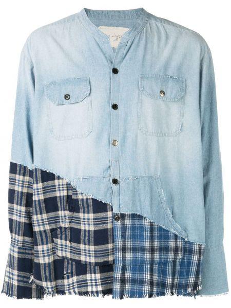Niebieska koszula jeansowa bawełniana z długimi rękawami Greg Lauren