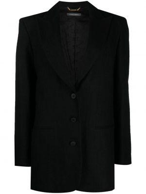 Однобортный черный удлиненный пиджак на пуговицах Alberta Ferretti