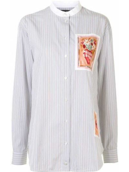 Рубашка с воротником с манжетами на пуговицах с нашивками Markus Lupfer