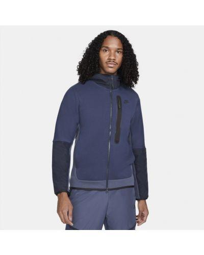 Niebieski z rękawami bluzka z kapturem Nike