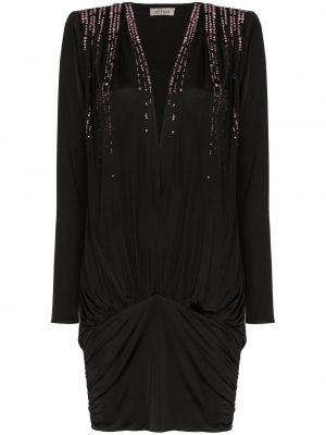 Czarna sukienka mini z długimi rękawami z wiskozy Attico