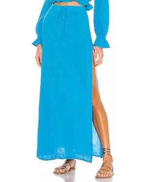 Хлопковая синяя юбка макси с разрезом с поясом Blue Life