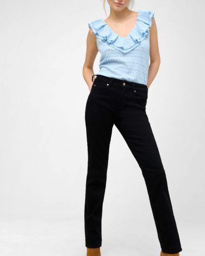 Ażurowy niebieski t-shirt bez rękawów Orsay