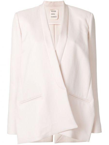 Шелковый розовый приталенный классический пиджак Maison Rabih Kayrouz