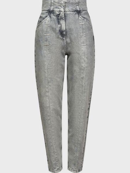 Хлопковые серые джинсы на молнии Patrizia Pepe
