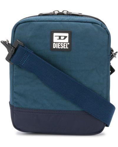 Niebieski z paskiem torba z łatami prostokątny Diesel