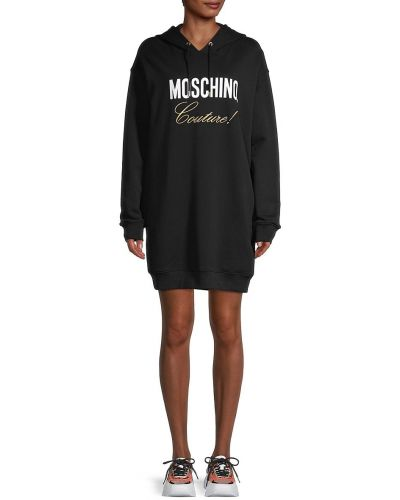 Черное платье макси с длинными рукавами с капюшоном Moschino