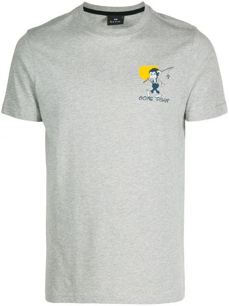 Koszula krótkie z krótkim rękawem prosto z nadrukiem Ps Paul Smith