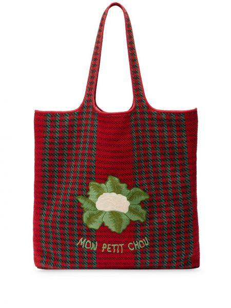 Кожаная красная сумка-тоут с вышивкой Gucci