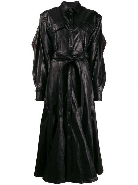 Черное длинное пальто с воротником с поясом Y/project