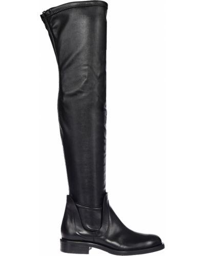 Черные кожаные ботфорты Tiffi