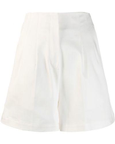 Однобортные белые короткие шорты с карманами L'autre Chose