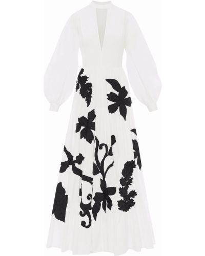 Вечернее платье с воротником-стойка - белое Oscar De La Renta