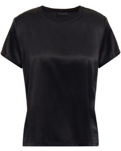 Prążkowany czarny satynowy t-shirt Atm Anthony Thomas Melillo
