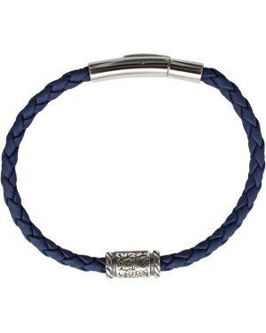 Кожаный браслет серебряный из искусственной кожи Swanky