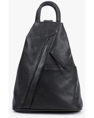 Городской черный рюкзак из натуральной кожи Carla Ferreri